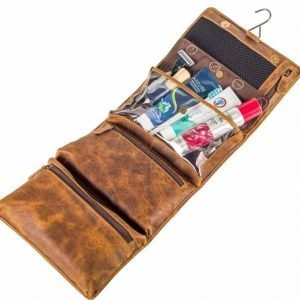 Men's Toiletry Bag (Real Leather)-Foldable & Hanging